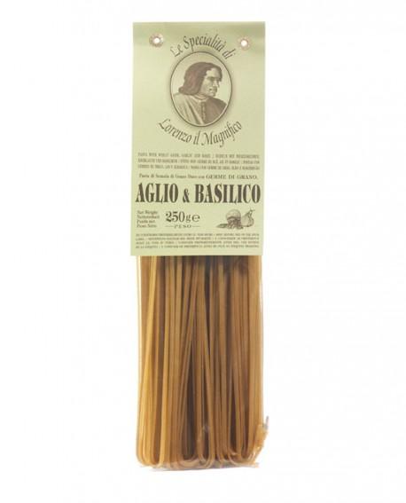 Aglio Basilico - Linguine Lorenzo il Magnifico 250 gr Pasta Aromatizzata - Antico Pastificio Morelli