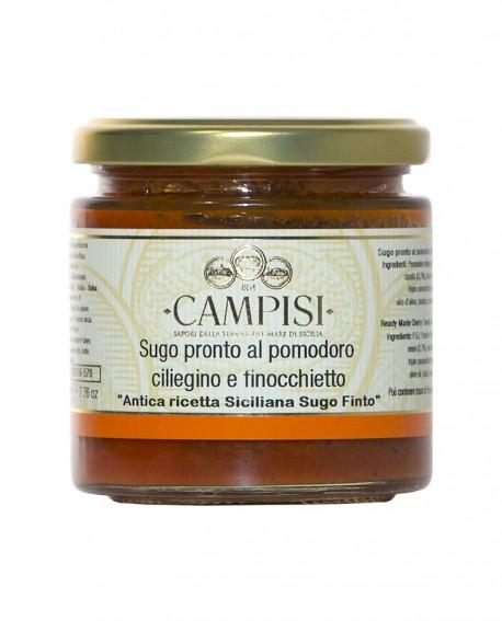 Sugo pronto al Pomodoro Ciliegino e Finocchietto - Antica ricetta Siciliana - Sugo Finto - vaso vetro 220 g - Campisi