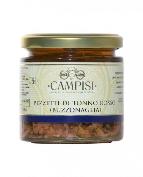 Buzzonaglia Pezzetti di Tonno Rosso in Olio di Oliva - vaso vetro 220 g - Campisi