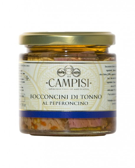 Bocconcini di Tonno al Peperoncino in Olio di Oliva - vaso vetro 220 g - Campisi