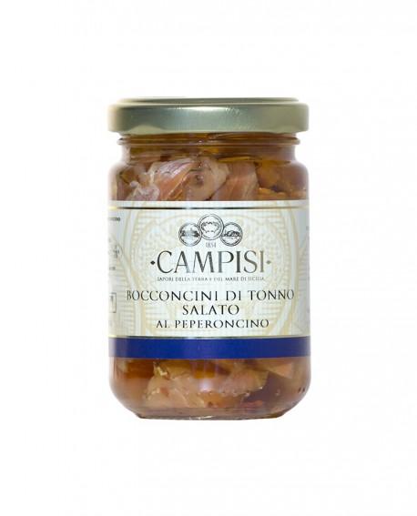 Bocconcini di Tonno salato al peperoncino in Olio di Oliva - vaso vetro 220 g - Campisi