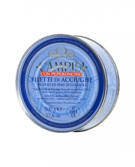 Filetti di Acciughe con Peperoncino sott'olio latta 500 g - Campisi
