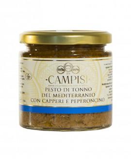 Pesto di Tonno del Mediterraneo con Capperi e Peperoncino - vaso vetro 210g - Campisi