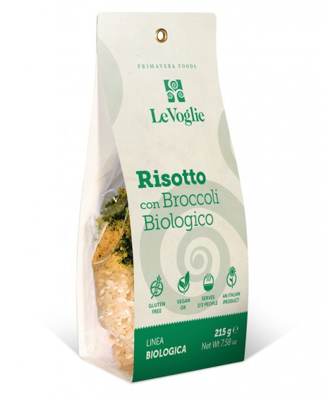 Risotto con Broccoletti Biologico senza glutine - 215g linea gourmet - Le Voglie - Primavera Foods