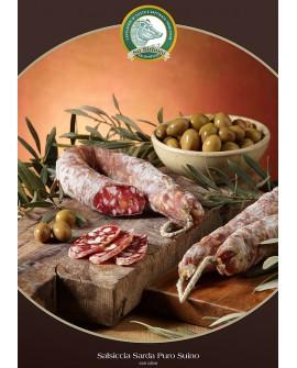 Salsiccia puro suino con olive gr 400 atm Salumificio Su Sirboni