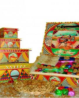 Scatola Folk in legno con torrone misto gr 350 - Antico Torronificio Nisseno
