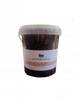 Olive ottobratiche nere schiacciate a mano in salamoia - Cestello da 5 Kg - Olearia San Giorgio