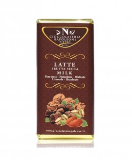 Tavoletta Cioccolato al Latte 41% Cacao minimo con Frutta Secca 100g - Cioccolateria Napoleone Pietro