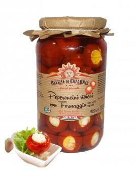Peperoncini ripieni con Formaggio Pecorino di Calabria - Ciliegione - 920 g - Delizie di Calabria