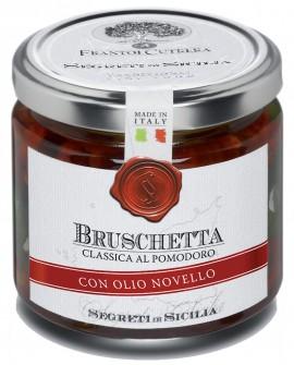 Bruschetta classica di pomodoro - con olio extra vergine Novello - vasetto di vetro 212 - 190 g - Frantoi Cutrera
