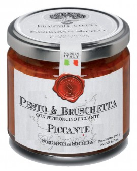 Pesto & Bruschetta Piccante con peperoncino piccante - vasetto di vetro 212 - 190 g - Frantoi Cutrera Segreti di Sicilia