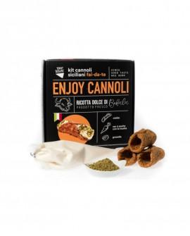 Enjoy Cannoli Siciliani con ricotta di bufala fresca - n.100 MIGNON - kit fai-da-te - 4,75 kg - Terra Siciliae