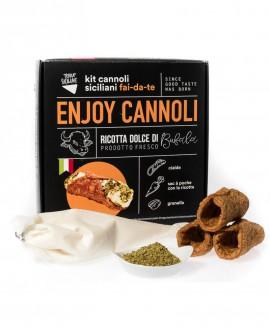 Enjoy Cannoli Siciliani con ricotta di bufala fresca - n.250 MIGNON - kit fai-da-te - 8,5 kg - Terra Siciliae