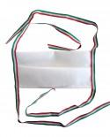 Mascherina bianca con nastrino tricolore ITALIA in tessuto TNT doppio strato da 70gr cadauno -100% Pol. idrorepell. traspirante