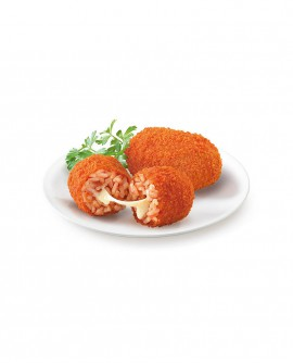 Supplì di riso alla Romana con mozzarella 85g pangrattato bianco surgelato - cartone 6 kg - Frittoking