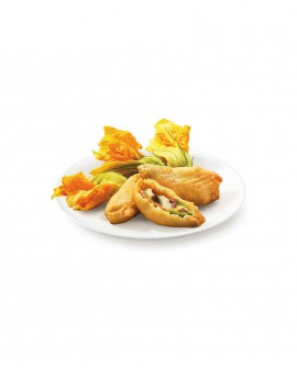 Fiori di zucca in pastella ripieno di mozzarella e acciughe surgelato - cartone 6 kg - Frittoking
