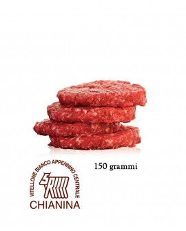 Hamburger di Chianina IGP 150g, in vaschetta ATM, cartone da n.32 pezzi - 4,8 Kg - Macelleria Carni IGP Certificate