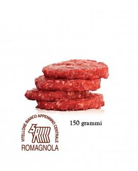 Hamburger di Romagnola IGP 150g, in skin, cartone da n.18 pezzi - 2,7 Kg - Macelleria Carni IGP Certificate