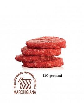 Hamburger di Marchigiana IGP 150g, in skin, cartone da n.18 pezzi - 2,7 Kg - Macelleria Carni IGP Certificate