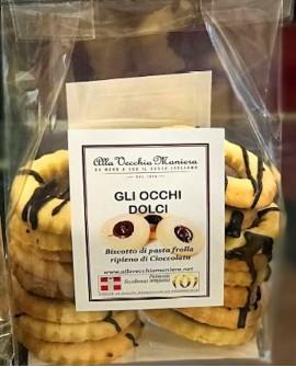 GLI OCCHI DOLCI, biscotto di pasta frolla ripieno di Cioccolato - 180g - Pasticceria Alla Vecchia Maniera