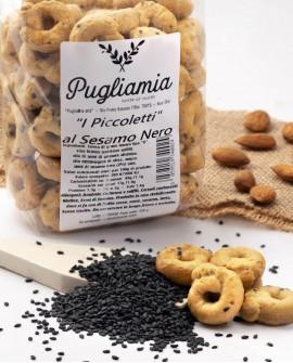 Taralli al Sesamo nero artigianali, I Piccoletti - busta 300g - Forno Pugliamia
