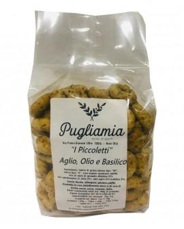 Taralli all'Aglio, Olio e Basilico artigianali, I Piccoletti - busta 300g - Forno Pugliamia