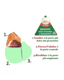 Prosciutto di Bassiano Classico senza osso - trancio GAMBO 2,5 Kg sottovuoto - stagionatura 15 mesi - Reggiani
