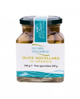 Olive Nocellara in Salamoia - vaso in vetro 340g - Olearia San Giorgio