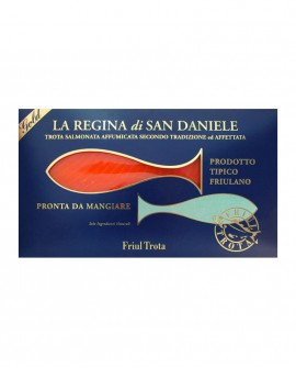 Regina di San Daniele in fette - 100g fette - Filetto di Trota Salmonata Affumicata a freddo - Friul Trota